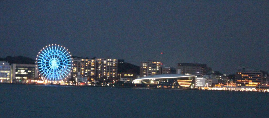 海峡にきらめく夜景を船上から…